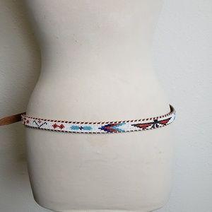 Vintage hand tooled Aztec beaded leather belt